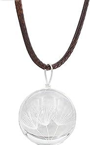 HANDSART Women Girl Necklace Glass Ball Pendant Charm Trendy Natural Dandelion Handmade Jewelry