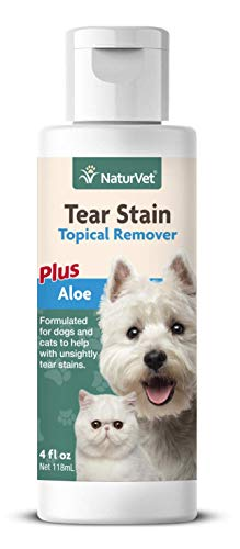 NaturVet - Tear Stain Topical Remover Plus Aloe - 4 oz - Eliminates Unsightly Tear & Saliva Stains - Gentle, Water-based Formula - For Dogs & Cats