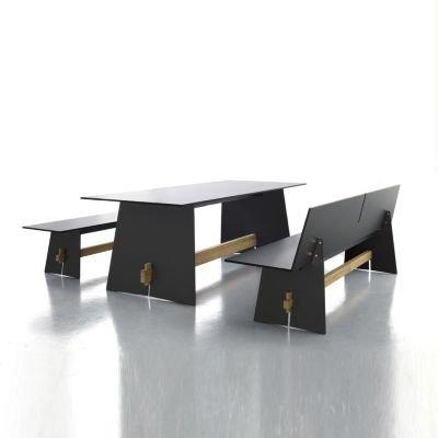 Tension Bank ohne Rückenlehne HPL-Kunststoff anthrazit - 220 x 45 cm