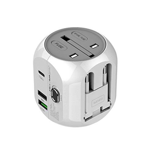 HankuUniversal World Wide Travel Charger Adapter Plug Foreign Travel Power Converter (White)