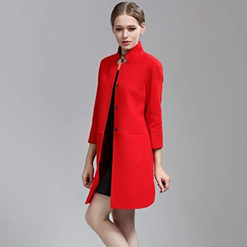 Mujer Larga l Lana Otoño rojo Boucle Cálida Vintage Bordado Chaqueta De Abrigo E Para Suelta Manga Invierno Vioy Rompevientos xU1aqwP