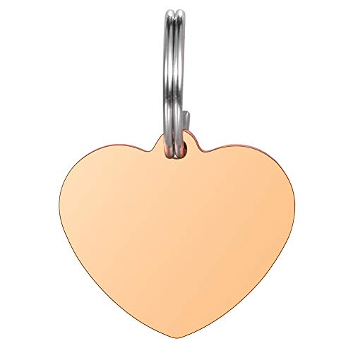 Valyria Heart Pet Id Tag Stainless Steel Personalized Small Pet Id Tags for Dogs & Cats,Rose Gold