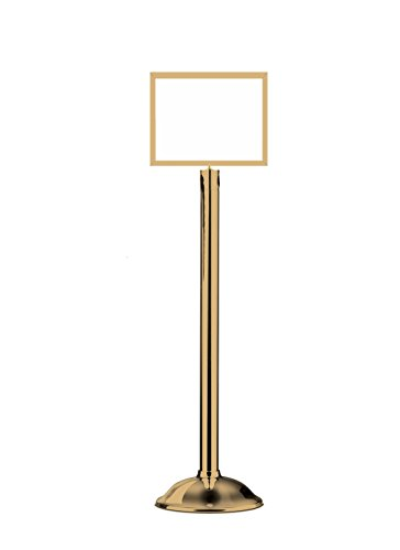 Lawrence metal 1310T-2P-1114HD-H Sign Stand, Traditional Base, Heavy Duty Frame, Horizontal, Polished Brass, 11