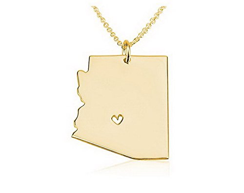State Necklace Arizona State Charm Necklace 18k Gold Plated State Necklace with a Heart (18 Inches)
