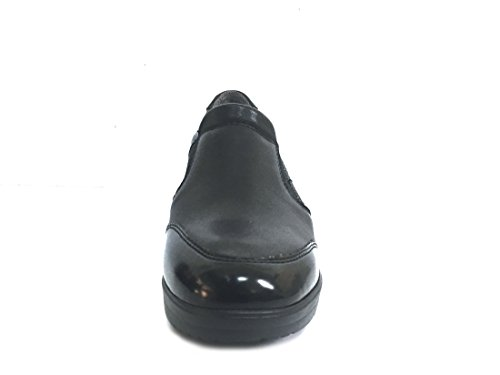 MELLUSO R25814P Nero Scarpa Donna Zeppa Slip-On Pelle Made in Italy