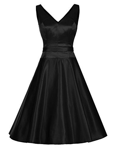 Dresstells®Vestido Mujer Corto Retro Vintage De Estilo 1950 Rockabilly Escote En Pico negro
