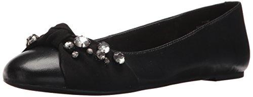 Nine West Women's Maudisa Leather Loafer Flat, Black/Black, 7.5 Medium US