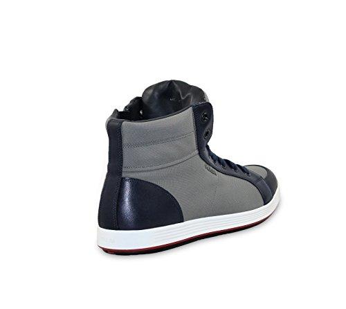 Prada Heren Leer Met Nylon High-top Sneaker, Baltico / Grijs 4t2842