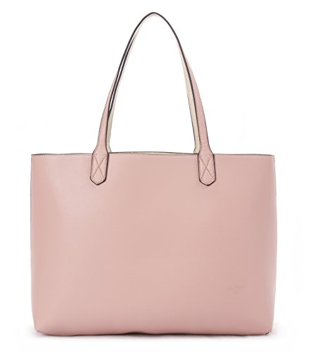 Overbrooke Reversible Tote Bag, Pink & Cream - Premium Vegan Leather Womens Shoulder Tote