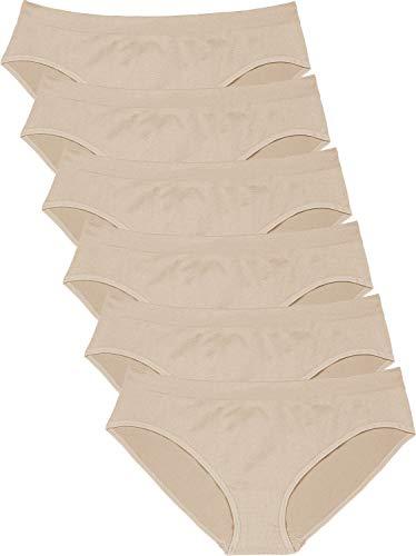 - Areke Womens Bikini Panties Seamless Underwear, Soft Stretch Cheekini Hipster Briefs 6 Pack (Nude S)