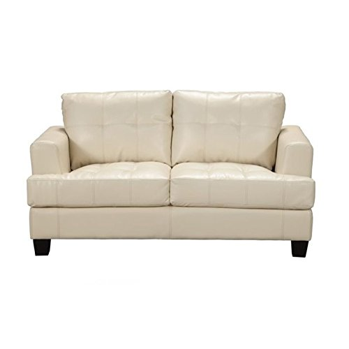 Bowery Hill Contemporary Tufted Leather Loveseat in Cream