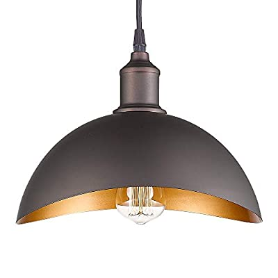 """Emliviar Modern Industrial Pendant Light 15"""", Farmhouse Hanging Light Fixture with Curved Metal Shade, Oil Rubbed Bronze, 1902L ORB"""
