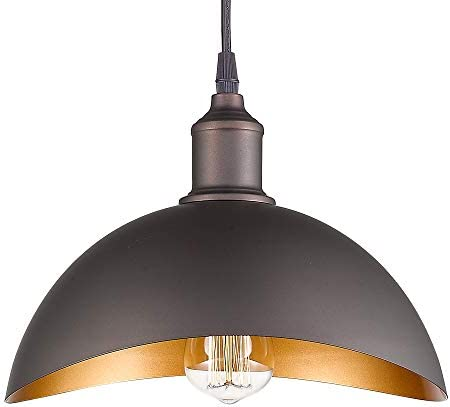 Emliviar Modern Industrial Pendant Light 15 , Farmhouse Hanging Light Fixture with Curved Metal Shade, Oil Rubbed Bronze, 1902L ORB