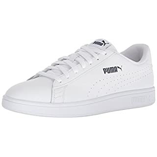 PUMA Men's Smash Leather Perf Sneaker, White-White, 7 M US