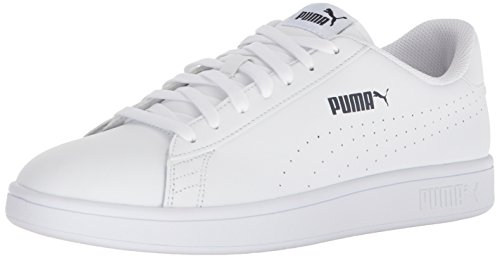 PUMA Men's Smash Leather Perf Sneaker, White-White, 9 M US (Puma Shoes Sneakers Men)