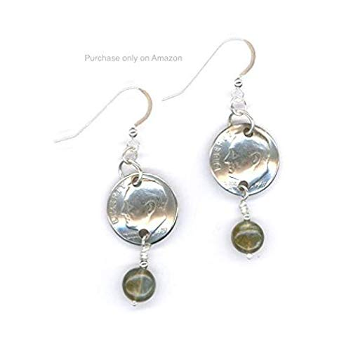 (50th Birthday 1969 Dimes with Labradorite Beads and Silver Links Earrings 50th Anniversary Gift Coin)