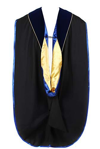 Newrara Graduation Unisex Deluxe Doctoral Hood Phd Hood (Blueroyalgold)