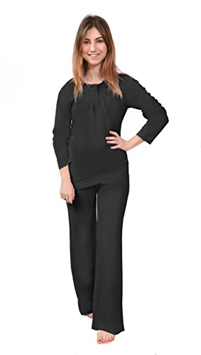 Long Sleeve Women's Pajamas (Pearl Of Nature) Bamboo Pajamas Sleep Set, (Small, Black)