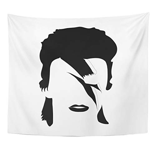 Emvency Tapestry Celebrity Black Rock Portrait of David Bowie British Songwriter and Actor White Brush Drawing Home Decor Wall Hanging for Living Room Bedroom Dorm 50x60 Inches