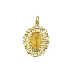 25x 25x 18mm Jaune 14K Notre Dame de Guadalupe Médaille