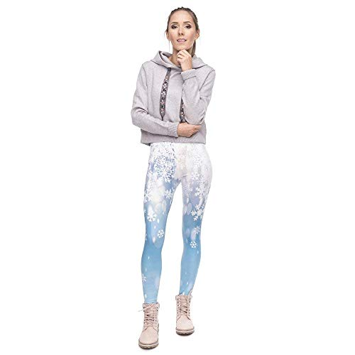 Natale Pantaloni Lga49183 Serie Fitness A Donna Stampa Grazioso Legging Leggings Alta Snow Da Elegante Moda Yoga Vita Falling TcWUrcO