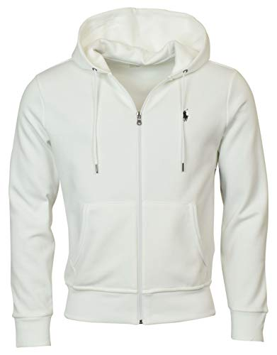 (Polo Ralph Lauren Men's Double-Knit Full-Zip Hooded Sweatshirt - L - White)