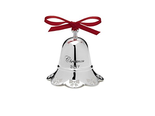 Towle 2017 Silver Plated Musical Bell Ornament with Ribbon, 37th Edition (Pierced Bell Ornament)
