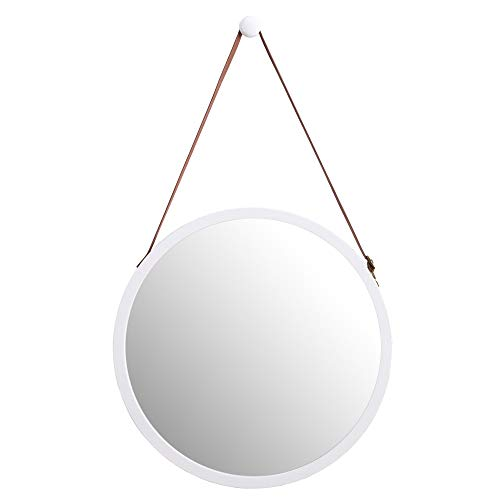 WILSHINE Small Round Wall Mirror with White Modern Frame for Bathroom Entryway - Bathroom Mirrors Round White