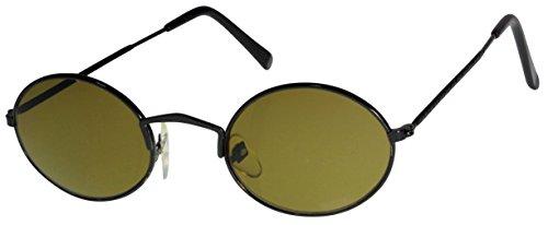 Immerschön Sonnenbrille oval schwarz grüne Gläser John Lennon Hippie Retro 70´s Woodstock Party