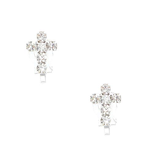 Claire's Girl's Silver-tone Faux Crystal Lined Cross Clip-on Stud Earrings