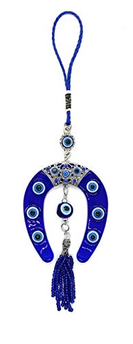 (Bravo Team Lucky Evil Eye Hanging Horse Shoe for Protection and Blessing, Strength and Power, Pendant Decoration for Car, Home and Office, Great Gift)