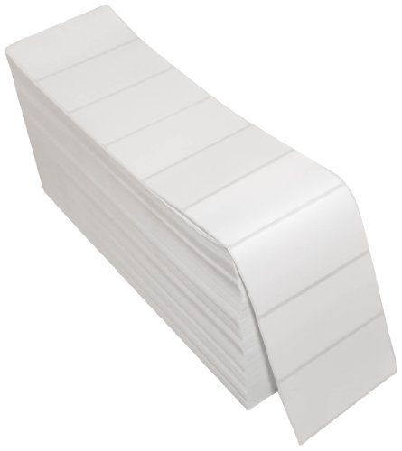 Compulabel 670050 Thermal Transfer Shipping Labels, 4 inch x 2 inch, White, Fanfold, Permanent Adhesive, Perforations Between Labels, 6000 Per Carton
