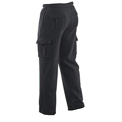 - New Winter Tex Men'S Cargo Sweat Pants Track Fleece Heavy Weight S-XL (L, Dark Gray)