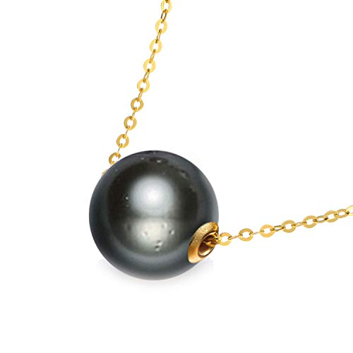 9-13mm Black Tahitian Pearl Necklace 925 Silver Chain Necklace Single Pearl Pendant Necklace for Women Love,10-11mm (Tahitian Yellow Bracelet)