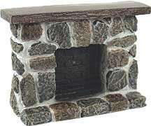 Dollhouse Miniature Gray and Tan Fieldstone Fireplace Dollhouse Fireplace