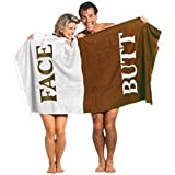 """The Original Butt & Face Cotton Towel 100 % Cotton Bath Towel Embroidered with """" Butt / Face """""""