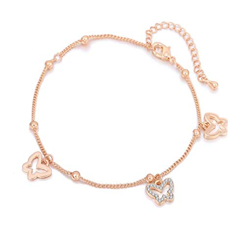 HoBST Rose Gold Butterfly Anklet Foot Jewelry Adjustable Beach Ankle Bracelet for Women