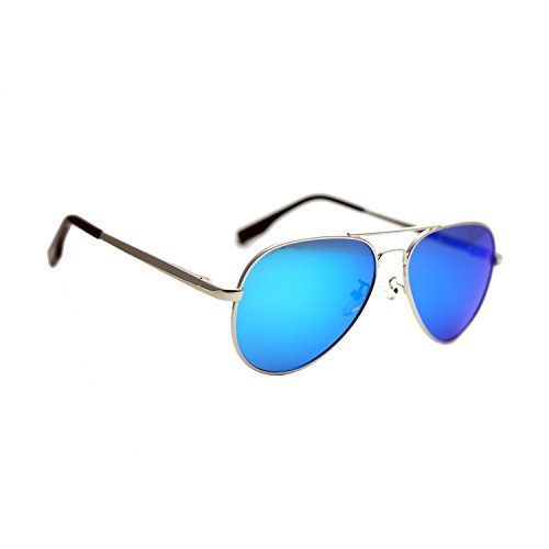 Zacway Small Polarized Spring Hinges Metal Aviator Sunglasses UV400 52mm (Silver Frame/Mirror Blue Lens, - Small Aviator Sunglasses