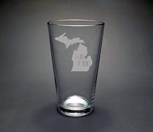Michigan I Like It Here Pint Glass