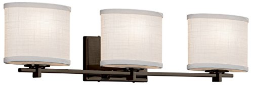Justice Design Group Lighting FAB-8443-30-CREM-MBLK Textile Era 3-Light Bath Bar-Matte Black Finish with Woven Fabric Cream-Oval Shade ()