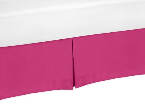 Hot Pink Design - Sweet Jojo Designs Pink Queen Bed Skirt for Hot Pink and White Chevron Bedding Set Collection