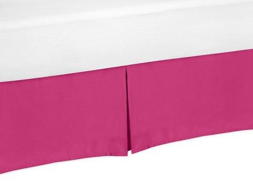 Sweet Jojo Designs Pink Toddler Bed Skirt for Hot Pink and White Chevron Kids Children's Bedding Sets