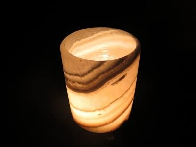 The Egyptian house Alabaster Handmade Candle Holder Pharaoh Design Marble Cup A Size Of 4 X 4 X 4 Inch Tealight and votive for Home Decor,Massage,Romantic atmosphere and relaxation With a Gift Candle