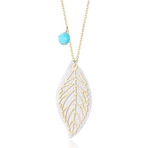 BOUTIQUELOVIN 14K Gold Filigree Long Simple Leaf Necklace Pendant with Amazonite Bead Fashion Jewelry for Women Girls ()
