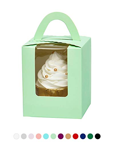 - YoTruth Mint Green ST Patrick's Day Cupcake Boxes Favors Single 50 Pack with Window Easy Assembly (Classic Series)
