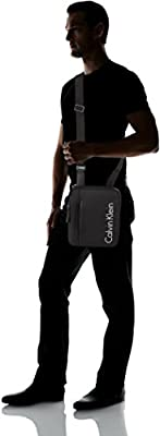 Calvin Klein Quad Stitch Flat Crossover, Men's Shoulder Bag, Black, 3x27x22 cm (B x H T)