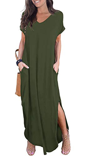GRECERELLE Womens Casual V Neck Side Split Beach Dresses Long Maxi Dress Army Green XL