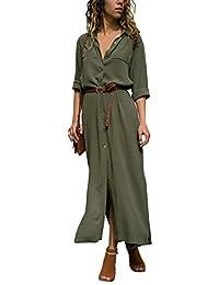 Edjude Women's Button Down Long Dress V-Neck Irregular Long Sleeve Casual Sexy Split Evening Cocktail Maxi Dresses