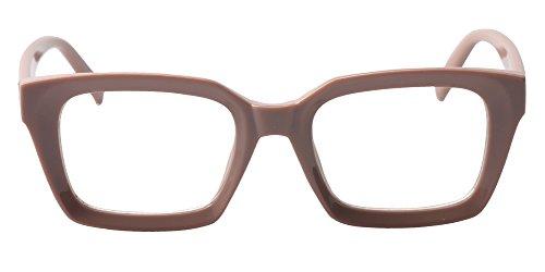 SOOLALA Retro Desinger 47mm Large Lens Square Reading Glass Big Eyeglass Frame, Coffee, ClearLens (Clearlens)