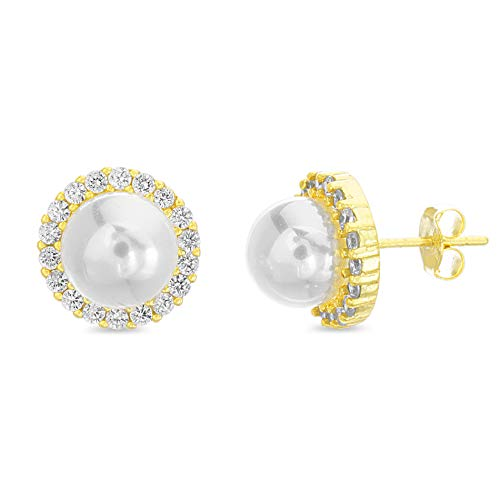 INSPIRED BY YOU. Round Simulated Pearl and Cubic Zirconia Stud Bridal Earrings for Women in Yellow Gold Plated Sterling Silver - Faux Zirconia Pearl Cubic